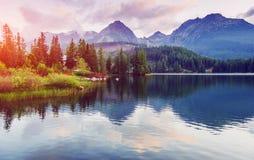 Μεγαλοπρεπής λίμνη βουνών στο εθνικό πάρκο υψηλό Tatra Pleso Strbske, Σλοβακία, Ευρώπη Στοκ Φωτογραφίες