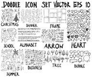 ΜΕΓΑ σύνολο doodles Έξοχη συλλογή των Χριστουγέννων, έμβλημα, fram Στοκ Φωτογραφία