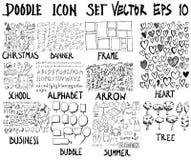 ΜΕΓΑ σύνολο doodles Έξοχη συλλογή των Χριστουγέννων, έμβλημα, fram Στοκ Εικόνες