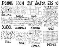 ΜΕΓΑ σύνολο doodles Έξοχη συλλογή των Χριστουγέννων, έμβλημα, fram Στοκ Εικόνα