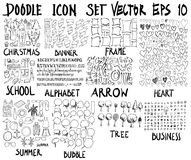 ΜΕΓΑ σύνολο doodles Έξοχη συλλογή των Χριστουγέννων, έμβλημα, fram Στοκ εικόνα με δικαίωμα ελεύθερης χρήσης
