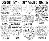 ΜΕΓΑ σύνολο doodles Έξοχη συλλογή των Χριστουγέννων, έμβλημα, fram Στοκ φωτογραφίες με δικαίωμα ελεύθερης χρήσης