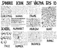 ΜΕΓΑ σύνολο doodles Έξοχη συλλογή των Χριστουγέννων, έμβλημα, fram Στοκ Φωτογραφίες
