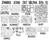 ΜΕΓΑ σύνολο doodles Έξοχη συλλογή των Χριστουγέννων, έμβλημα, fram Στοκ εικόνες με δικαίωμα ελεύθερης χρήσης