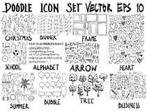 ΜΕΓΑ σύνολο doodles Έξοχη συλλογή των Χριστουγέννων, έμβλημα, fram Στοκ φωτογραφία με δικαίωμα ελεύθερης χρήσης