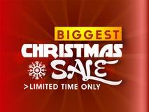 Μεγαλύτερη αφίσα πώλησης Χριστουγέννων, σχέδιο εμβλημάτων Στοκ Φωτογραφίες