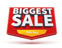 Μεγαλύτερο έμβλημα πώλησης με το κουμπί eps 10 στο λευκό Στοκ Εικόνα