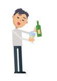 Μεθυσμένη γυναίκα με το γυαλί του επίπεδου διανύσματος κρασιού Στοκ εικόνα με δικαίωμα ελεύθερης χρήσης