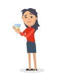 Μεθυσμένη γυναίκα με το γυαλί του επίπεδου διανύσματος κρασιού Στοκ εικόνες με δικαίωμα ελεύθερης χρήσης
