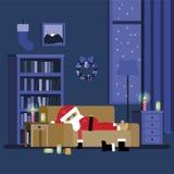 Μεθυσμένος Άγιος Βασίλης κοιμάται στον καναπέ Στοκ φωτογραφία με δικαίωμα ελεύθερης χρήσης