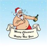 Μεθυσμένος Άγιος Βασίλης που πίνει Booze Διάνυσμα καρτών Χριστουγέννων στο μπλε υπόβαθρο Στοκ Εικόνες