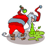 Μεθυσμένος Άγιος Βασίλης που ρίχνει επάνω Στοκ Φωτογραφία