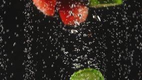 Μειωμένα κόκκινα και πράσινα φρούτα και λαχανικά που καταβρέχουν στο λαμπιρίζοντας νερό στο μαύρο υπόβαθρο o o απόθεμα βίντεο