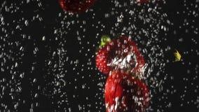 Μειωμένα φρέσκα φράουλες και κεράσια που καταβρέχουν στο λαμπιρίζοντας νερό στο μαύρο υπόβαθρο E απόθεμα βίντεο