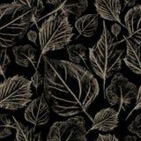 Μειωμένα φύλλα σε ένα σκοτεινό υπόβαθρο, άνευ ραφής σχέδιο Στοκ Φωτογραφία