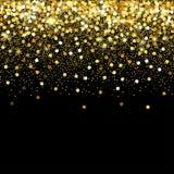 Μειωμένα χρυσά μόρια σε ένα μαύρο υπόβαθρο Διεσπαρμένο χρυσό κομφετί Πλούσιο σκηνικό μόδας πολυτέλειας Φωτεινό να λάμψει Στοκ φωτογραφία με δικαίωμα ελεύθερης χρήσης