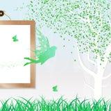 Μειωμένη διασπορά πράσινο φρέσκο γ φύλλων νεράιδων, πεταλούδων και φύσης ελεύθερη απεικόνιση δικαιώματος