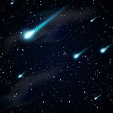 Μειωμένοι αστέρια, μετεωρίτες ή κομήτες background night sky starry Στοκ Εικόνες
