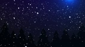 Μειωμένος βρόχος υποβάθρου νύχτας Χριστουγέννων χιονιού απόθεμα βίντεο