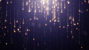 Μειωμένος χρυσό τρεμούλιασμα και shimmer μορίων σε ένα σκούρο μπλε κλίμα Αφηρημένο υπόβαθρο για τη γοητεία μόδας και ελεύθερη απεικόνιση δικαιώματος
