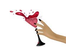 Μειωμένο γυαλί παφλασμοί γυαλί που ανατρέπεται Γυαλί martini ελεύθερη απεικόνιση δικαιώματος