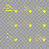 Μειωμένο διανυσματικό σύνολο αστεριών Αστέρια πυροβολισμού διαφανή σε ελεγμένο Εικονίδια των μετεωριτών και των κομητών πτώση Στοκ Εικόνες
