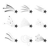 Μειωμένο διανυσματικό σύνολο αστεριών Αστέρια πυροβολισμού που απομονώνονται από το υπόβαθρο Εικονίδια των μετεωριτών και των κομ Στοκ Φωτογραφία