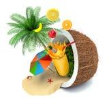 μειωμένο διογκώσιμο καταβρέχοντας ύδωρ διακοπών έννοιας παραλιών σφαιρών Καρύδα, ομπρέλα παραλιών και χυμός φρούτων ελεύθερη απεικόνιση δικαιώματος