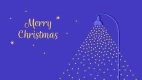 Μειωμένο χιόνι αναμμένο από έναν λαμπτήρα οδών Επίπεδη κάρτα Χριστουγέννων ύφους κινούμενων σχεδίων αστέρια νυχτερινού ουρα&nu Δι απεικόνιση αποθεμάτων