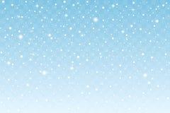 Μειωμένο χιόνι με το σπινθήρισμα που απομονώνεται στο μπλε διαφανές υπόβαθρο νέο έτος διακοσμήσεων Χριστουγέννων διάνυσμα διανυσματική απεικόνιση
