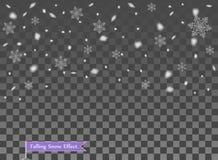 Μειωμένο χιόνι, τυχαία στοιχεία Νέο έτος, επικάλυψη ντεκόρ Χριστουγέννων Διανυσματική απεικόνιση στο απομονωμένο διαφανές υπόβαθρ διανυσματική απεικόνιση