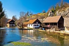 Μειωμένο χωριό νερών Rastoke στην Κροατία στοκ φωτογραφία με δικαίωμα ελεύθερης χρήσης