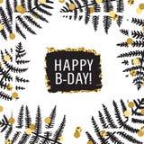 Μελάνι φύλλων φτερών & χρυσό συρμένο χέρι διάνυσμα κάρτα γενεθλίων ευτυχής Στοκ Εικόνες