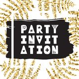 Μελάνι φύλλων φτερών & χρυσό συρμένο χέρι διάνυσμα Πρόσκληση κόμματος Στοκ φωτογραφίες με δικαίωμα ελεύθερης χρήσης