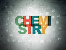 Μελέτη της έννοιας: Χημεία στο υπόβαθρο εγγράφου ψηφιακών στοιχείων στοκ εικόνα