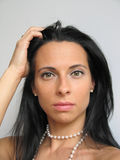 μελαχροινή γυναίκα τριχώμ&a Στοκ Εικόνες