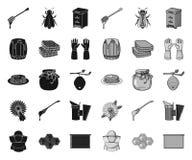 Μελισσουργείο και ο Μαύρος μελισσοκομίας μονο εικονίδια στην καθορισμένη συλλογή για το σχέδιο Εξοπλισμός και παραγωγή του διανυσ απεικόνιση αποθεμάτων