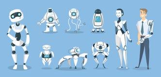 Μελλοντικά ρομπότ καθορισμένα Στοκ Εικόνες