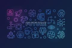 Μελλοντική διανυσματική ζωηρόχρωμη σύγχρονη απεικόνιση στο λεπτό ύφος γραμμών διανυσματική απεικόνιση