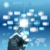 μελλοντική οθόνη επαφής διαπροσωπειών χεριών στοκ φωτογραφία με δικαίωμα ελεύθερης χρήσης