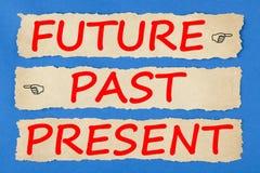 Μελλοντική προηγούμενη έννοια προόδου παρόντος στοκ εικόνα