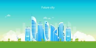 Μελλοντική πόλη Φιλική προς το περιβάλλον, έξυπνη, σύγχρονη πόλη Τοπίο, πολυκατοικίες απεικόνιση αποθεμάτων
