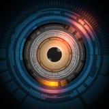 Μελλοντική τεχνολογία βολβών του ματιού με την έννοια ασφάλειας backgroun Στοκ Εικόνα