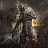 Μελλοντικός στρατιώτης στη βροχή ελεύθερη απεικόνιση δικαιώματος
