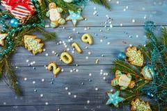 Μελόψωμο και διακοσμήσεις Χριστουγέννων στοκ εικόνες με δικαίωμα ελεύθερης χρήσης