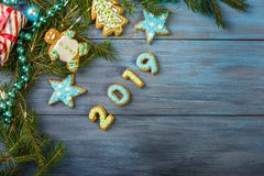 Μελόψωμο και διακοσμήσεις Χριστουγέννων στοκ φωτογραφία με δικαίωμα ελεύθερης χρήσης