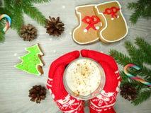 Μελόψωμο και καφές μπισκότων Χριστουγέννων στα κόκκινα γάντια χεριών Στοκ εικόνα με δικαίωμα ελεύθερης χρήσης
