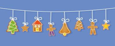 Μελόψωμο που κρεμά το καθορισμένο κουδούνι χριστουγεννιάτικων δέντρων ατόμων σπιτιών αστεριών ελεύθερη απεικόνιση δικαιώματος