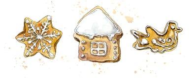 Μελόψωμο Χριστουγέννων Dawing απεικόνιση χεριών Watercolor απεικόνιση αποθεμάτων