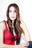 Μεμβρανοειδές ισπανικό τζιν παντελόνι κόκκινων κορυφών γυναικών Στοκ Εικόνες